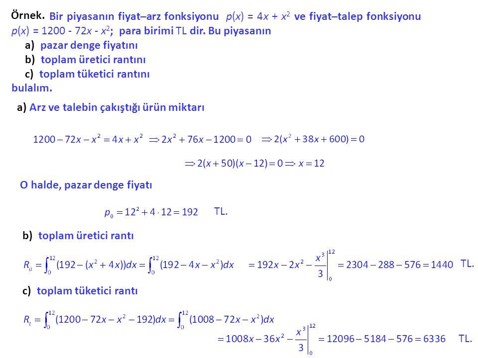 Örnek. Bir piyasanın fiyat–arz fonksiyonu p(x) p(x) = 4x 4x + x2 x2 ve fiyat–talep fonksiyonu p(x) = 1200 - 72x - x 2 ; para birimi TL dir. Bu piyasan