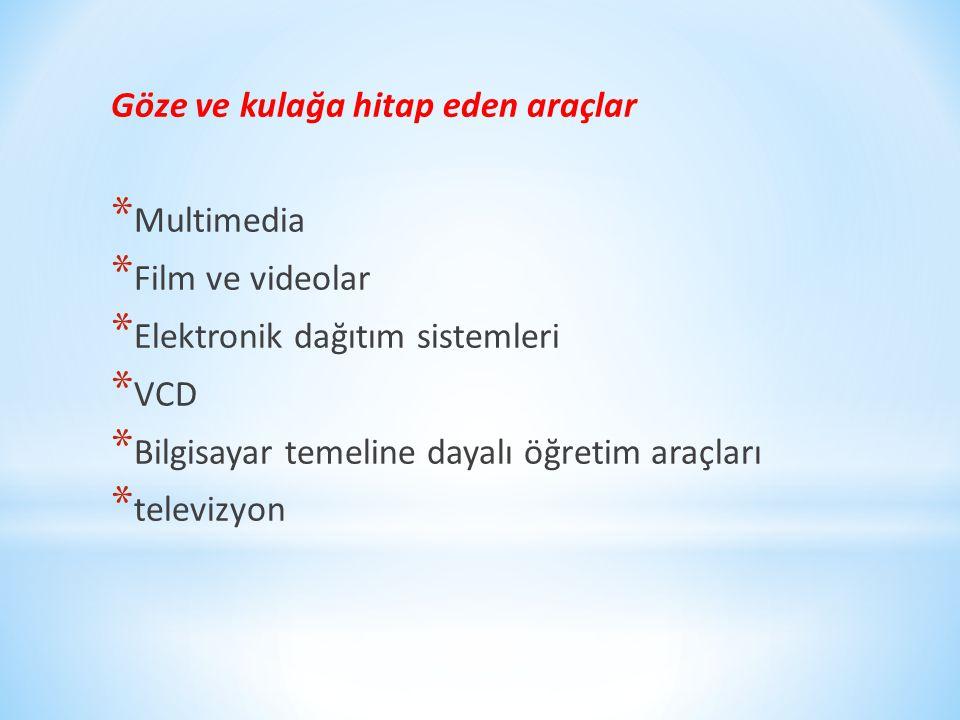Göze ve kulağa hitap eden araçlar * Multimedia * Film ve videolar * Elektronik dağıtım sistemleri * VCD * Bilgisayar temeline dayalı öğretim araçları