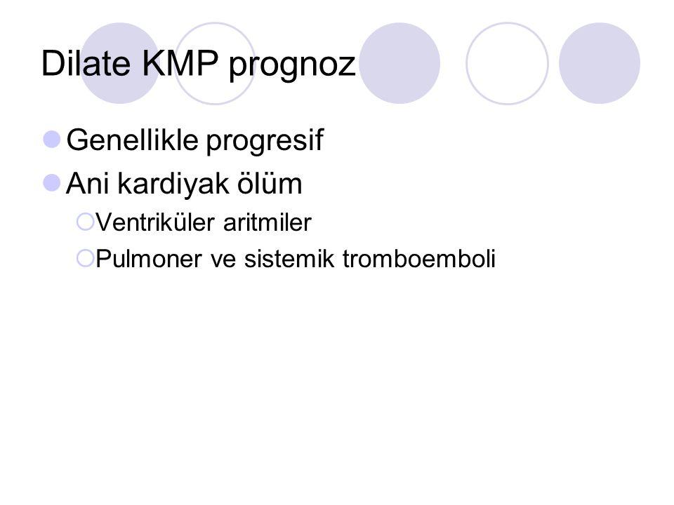 Dilate KMP prognoz Genellikle progresif Ani kardiyak ölüm  Ventriküler aritmiler  Pulmoner ve sistemik tromboemboli