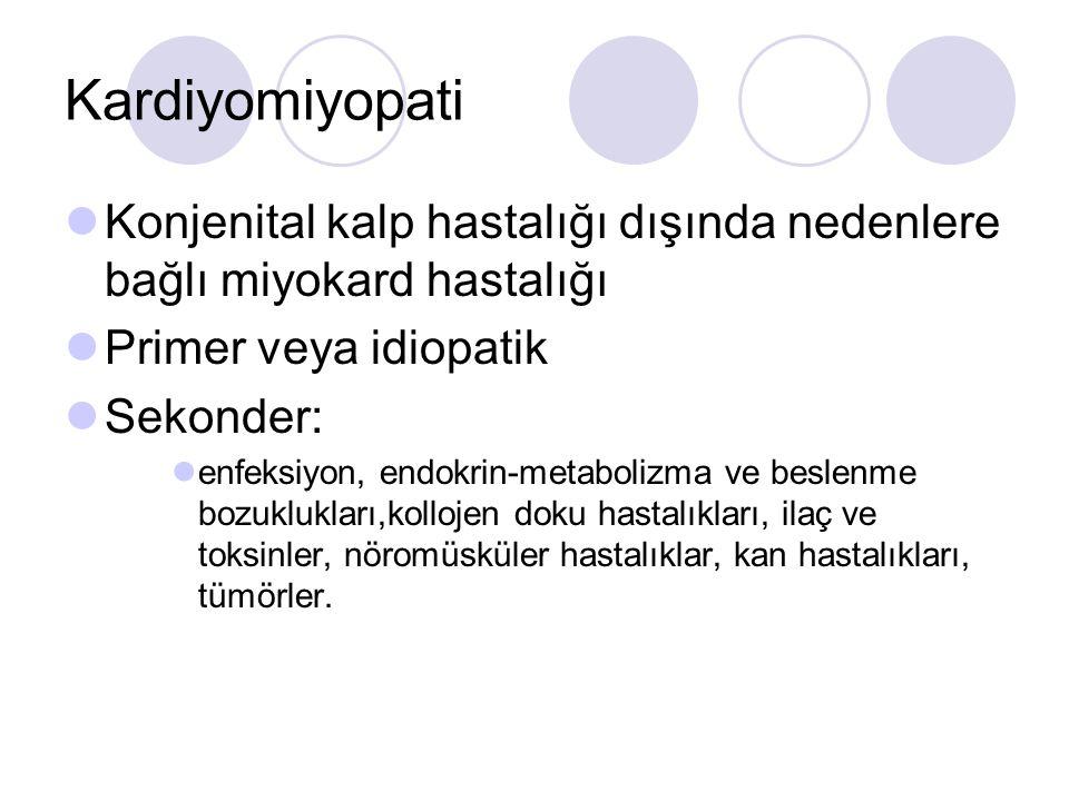 Kardiyomiyopati Konjenital kalp hastalığı dışında nedenlere bağlı miyokard hastalığı Primer veya idiopatik Sekonder: enfeksiyon, endokrin-metabolizma