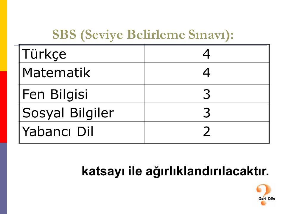 SBS (Seviye Belirleme Sınavı): Türkçe4 Matematik4 Fen Bilgisi3 Sosyal Bilgiler3 Yabancı Dil2 katsayı ile ağırlıklandırılacaktır.