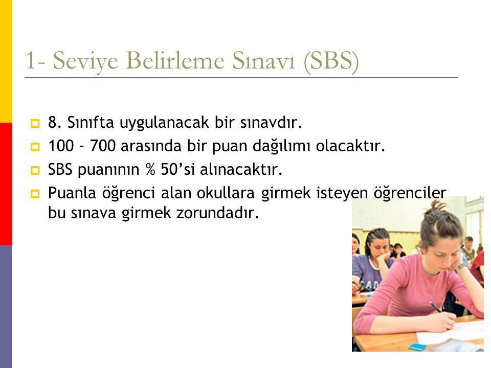1- Seviye Belirleme Sınavı (SBS)  8. Sınıfta uygulanacak bir sınavdır.