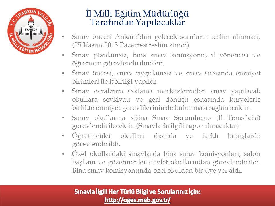 Sınav öncesi Ankara'dan gelecek soruların teslim alınması, (25 Kasım 2013 Pazartesi teslim alındı) Sınav planlaması, bina sınav komisyonu, il yönetici