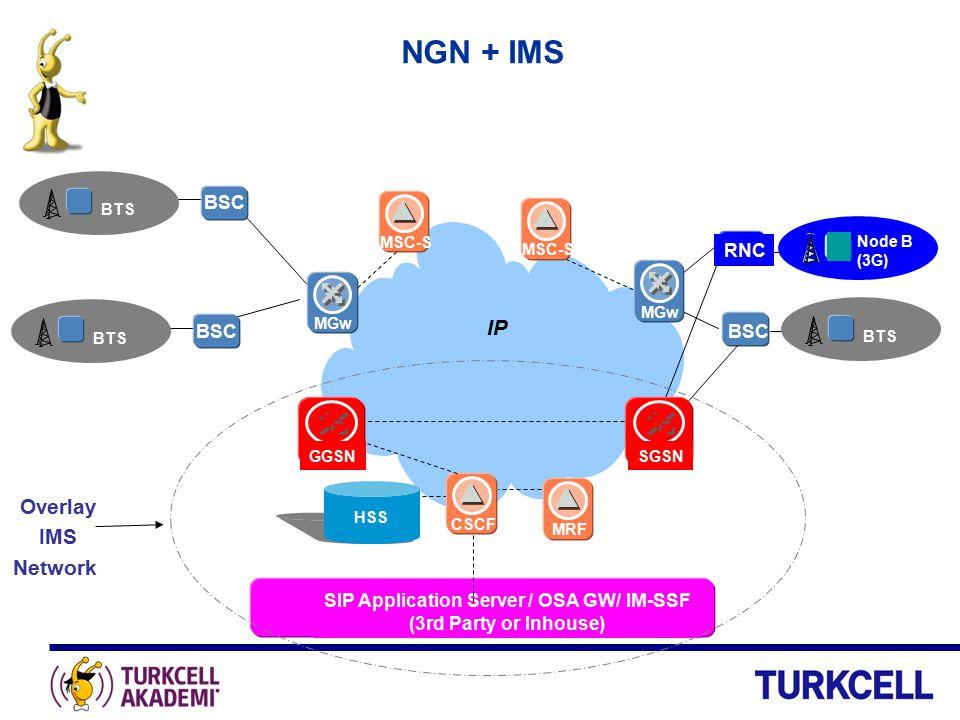 NGN + IMS BSC BTS BSC BTS MGw BTS BSC CSCF IP MSC-S MGw SGSNGGSN MRF SIP Application Server / OSA GW/ IM-SSF (3rd Party or Inhouse) HSS Overlay IMS Ne