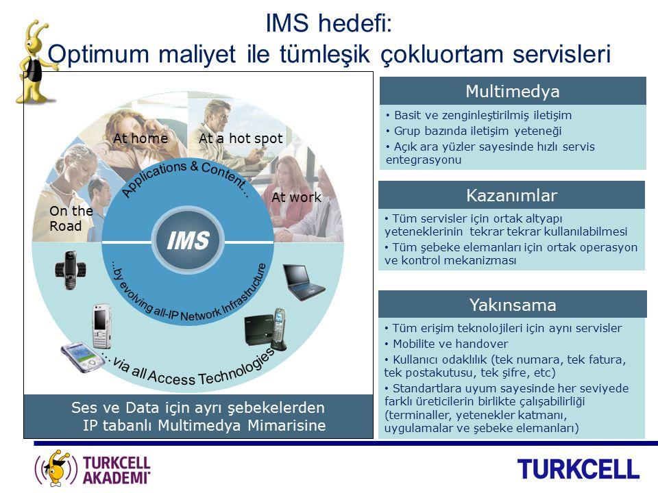 IMS 'in Operatörlere Vaadleri Akıllı bir şebeke ile sadece bir bitpipe olmamak ve değer zincirinde kalmak DSL, kablo, 2G, 3G, FTTx, Wi-Fi, WiMax gibi farklı erişim teknolojilerini ortak bir temel şebeke ile destekleyebilmek Servis geliştirme süre ve maliyetini aşağı çekecek, tekrar kullanılabilir bir ortak yetenekler setine sahip olmak Farklı ticari modelleri destekleyebilecek esnek bir ücretlendirme altyapısı Standart ve basit bir eko sistem servis entegrasyonu yapısı Internet modeli üzerinden para kazanmak: