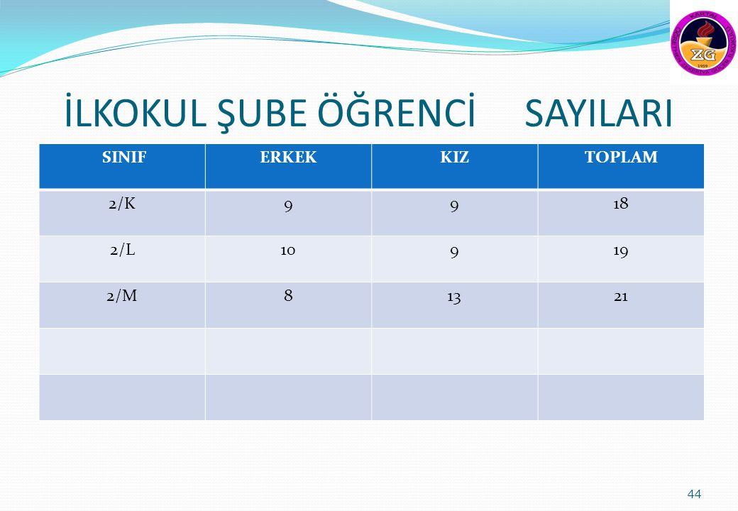 İLKOKUL ŞUBE ÖĞRENCİ SAYILARI SINIFERKEKKIZTOPLAM 2/K9918 2/L10919 2/M81321 44