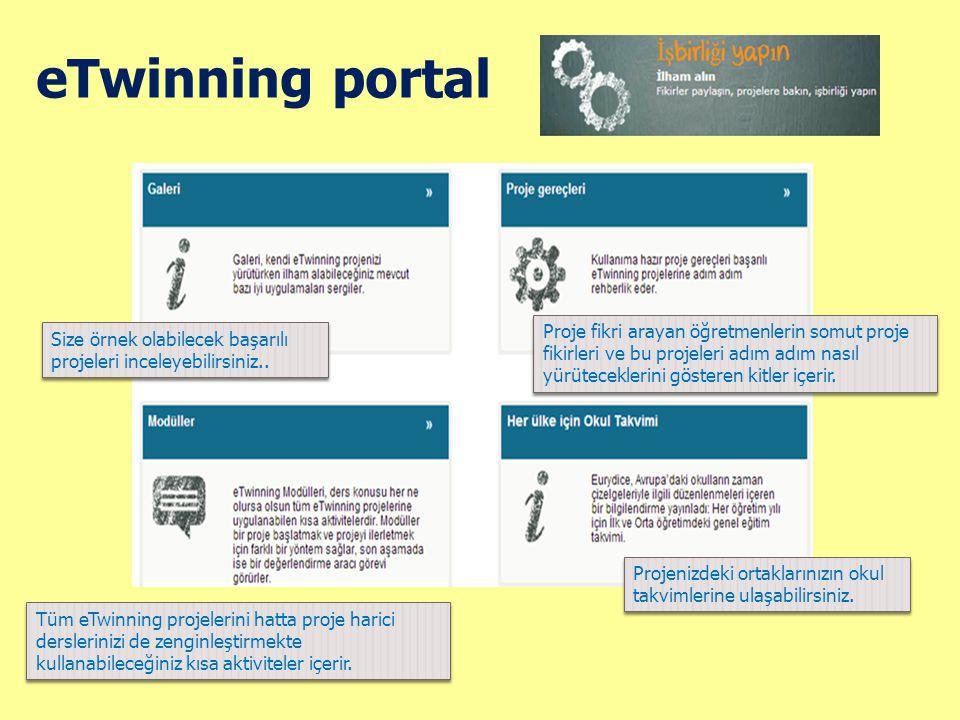 eTwinning portal Size örnek olabilecek başarılı projeleri inceleyebilirsiniz.. Proje fikri arayan öğretmenlerin somut proje fikirleri ve bu projeleri