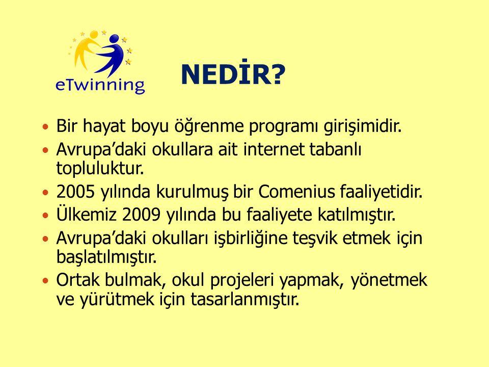 NEDİR? Bir hayat boyu öğrenme programı girişimidir. Avrupa'daki okullara ait internet tabanlı topluluktur. 2005 yılında kurulmuş bir Comenius faaliyet