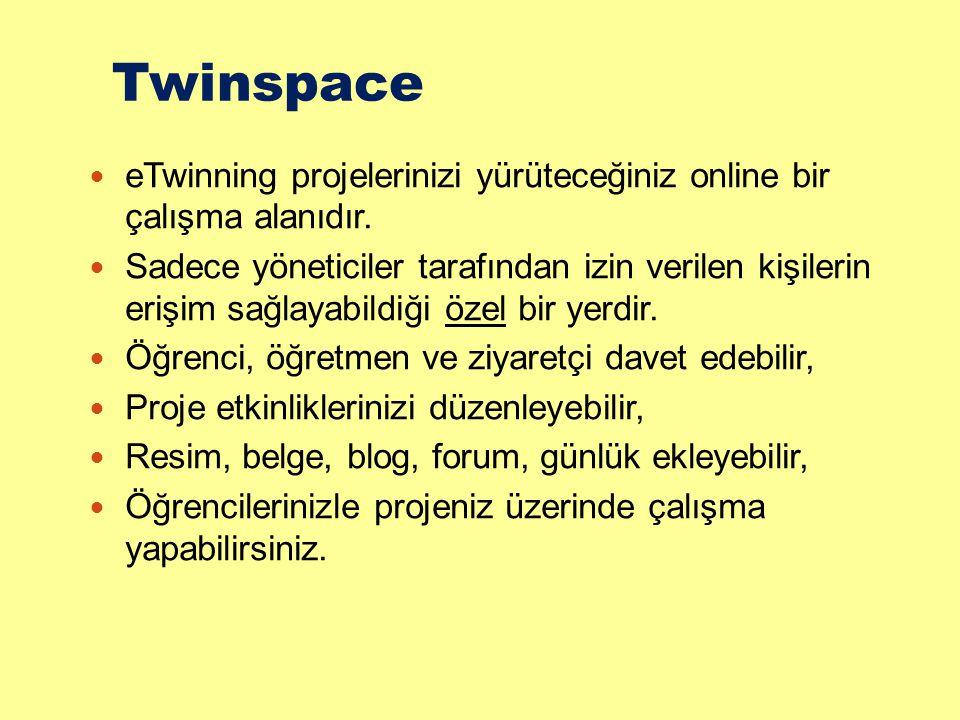 Twinspace eTwinning projelerinizi yürüteceğiniz online bir çalışma alanıdır. Sadece yöneticiler tarafından izin verilen kişilerin erişim sağlayabildiğ