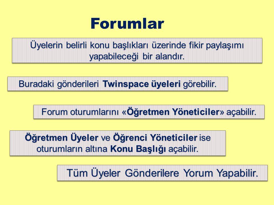 Forumlar Üyelerin belirli konu başlıkları üzerinde fikir paylaşımı yapabileceği bir alandır. Buradaki gönderileri Twinspace üyeleri görebilir. Forum o