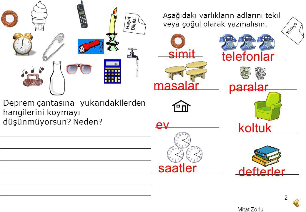 Mitat Zorlu 2 Türkçe Hayat Bilgisi Deprem çantasına yukarıdakilerden hangilerini koymayı düşünmüyorsun.