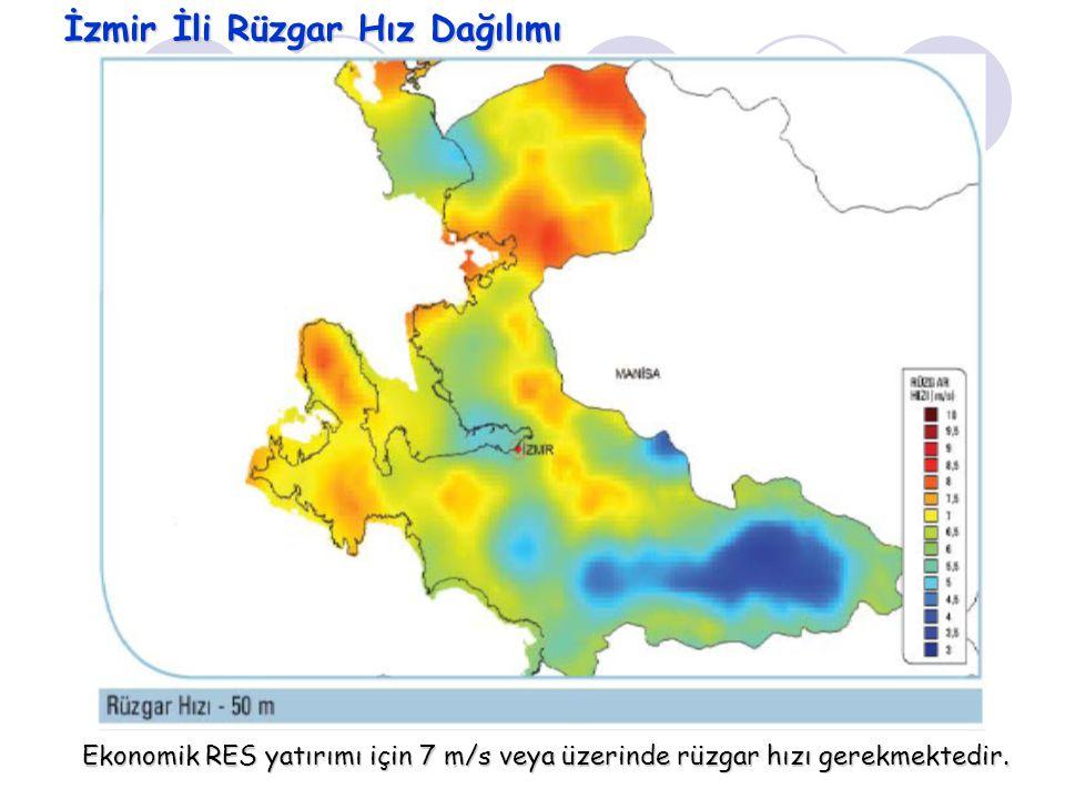 İzmir İli Rüzgar Hız Dağılımı Ekonomik RES yatırımı için 7 m/s veya üzerinde rüzgar hızı gerekmektedir.