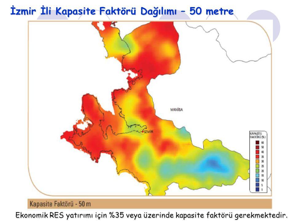 İzmir İli Kapasite Faktörü Dağılımı – 50 metre Ekonomik RES yatırımı için %35 veya üzerinde kapasite faktörü gerekmektedir.