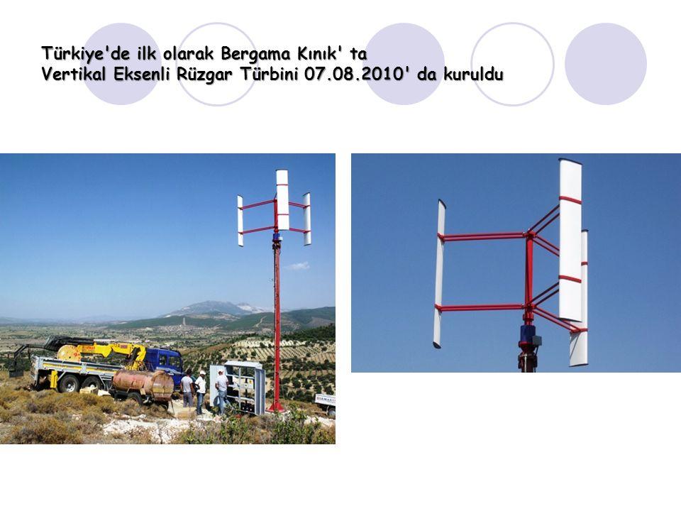 Türkiye'de ilk olarak Bergama Kınık' ta Vertikal Eksenli Rüzgar Türbini 07.08.2010' da kuruldu