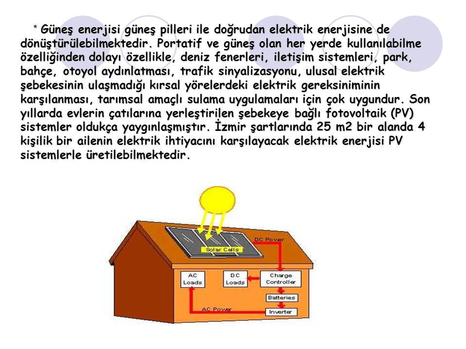 Güneş enerjisi güneş pilleri ile doğrudan elektrik enerjisine de dönüştürülebilmektedir. Portatif ve güneş olan her yerde kullanılabilme özelliğinden