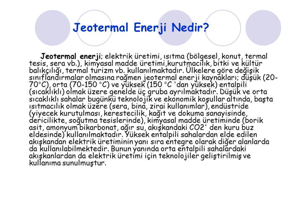 Jeotermal Enerji Nedir? Jeotermal enerji; elektrik üretimi, ısıtma (bölgesel, konut, termal tesis, sera vb.), kimyasal madde üretimi,kurutmacılık, bit