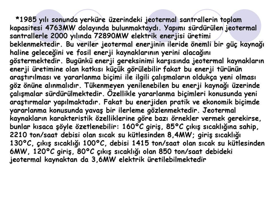 *1985 yılı sonunda yerküre üzerindeki jeotermal santrallerin toplam kapasitesi 4763MW dolayında bulunmaktaydı. Yapımı sürdürülen jeotermal santrallerl