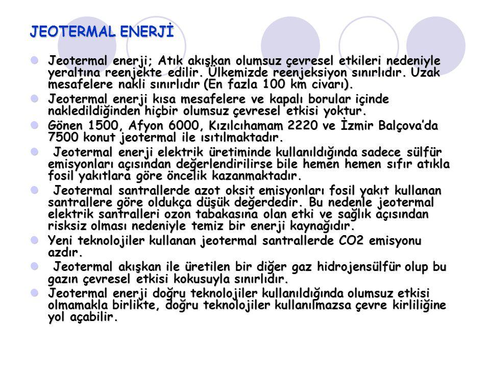 JEOTERMAL ENERJİ Jeotermal enerji; Atık akışkan olumsuz çevresel etkileri nedeniyle yeraltına reenjekte edilir. Ülkemizde reenjeksiyon sınırlıdır. Uza