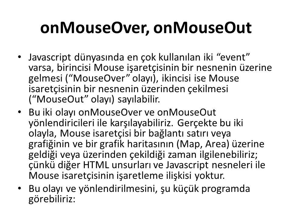 """onMouseOver, onMouseOut Javascript dünyasında en çok kullanılan iki """"event"""" varsa, birincisi Mouse işaretçisinin bir nesnenin üzerine gelmesi (""""MouseO"""