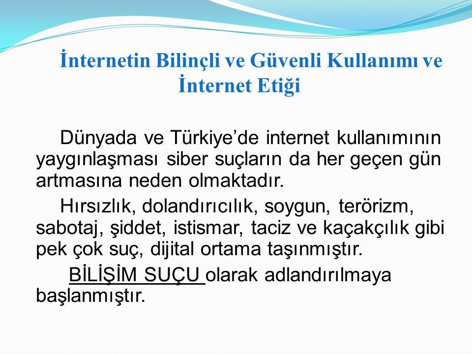 Dünyada ve Türkiye'de internet kullanımının yaygınlaşması siber suçların da her geçen gün artmasına neden olmaktadır. Hırsızlık, dolandırıcılık, soygu