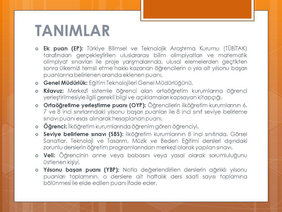 TANIMLAR  Ek puan (EP): Türkiye Bilimsel ve Teknolojik Araştırma Kurumu (TÜBİTAK) tarafından gerçekleştirilen uluslararası bilim olimpiyatları ve mat