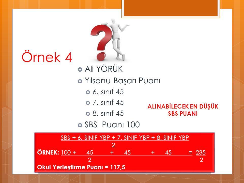 Örnek 4  Ali YÖRÜK  Yılsonu Başarı Puanı  6. sınıf 45  7. sınıf 45  8. sınıf 45  SBS Puanı 100 SBS + 6. SINIF YBP + 7. SINIF YBP + 8. SINIF YBP