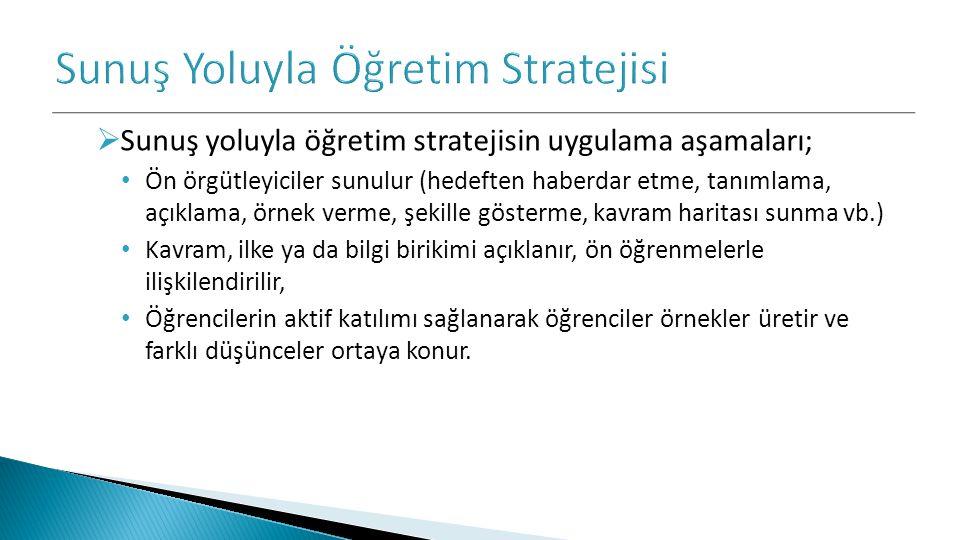  Sunuş yoluyla öğretim stratejisin uygulama aşamaları; Ön örgütleyiciler sunulur (hedeften haberdar etme, tanımlama, açıklama, örnek verme, şekille g