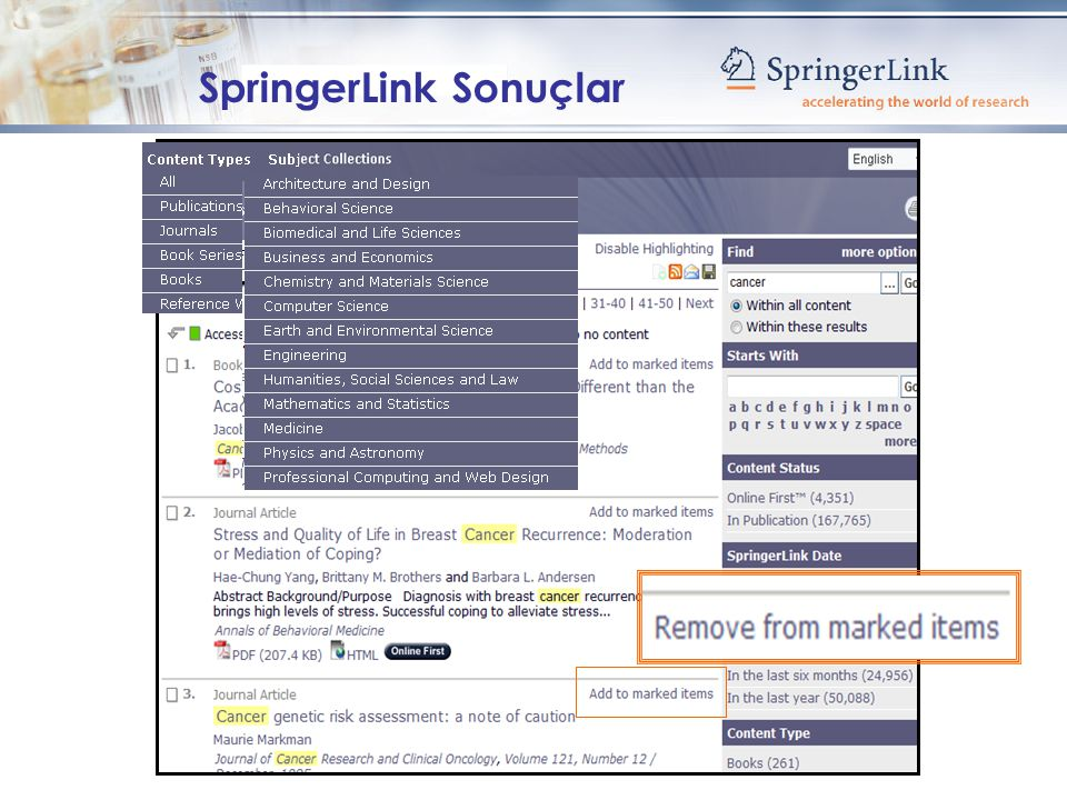 SpringerLink Sonuçlar