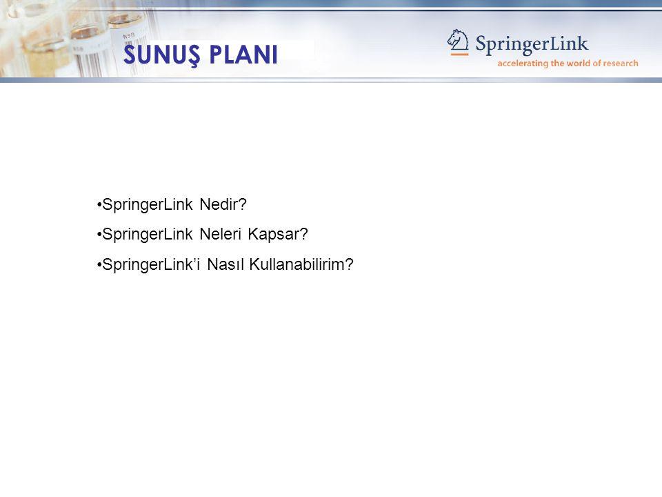 SpringerLink Nedir SpringerLink Neleri Kapsar SpringerLink'i Nasıl Kullanabilirim SUNUŞ PLANI