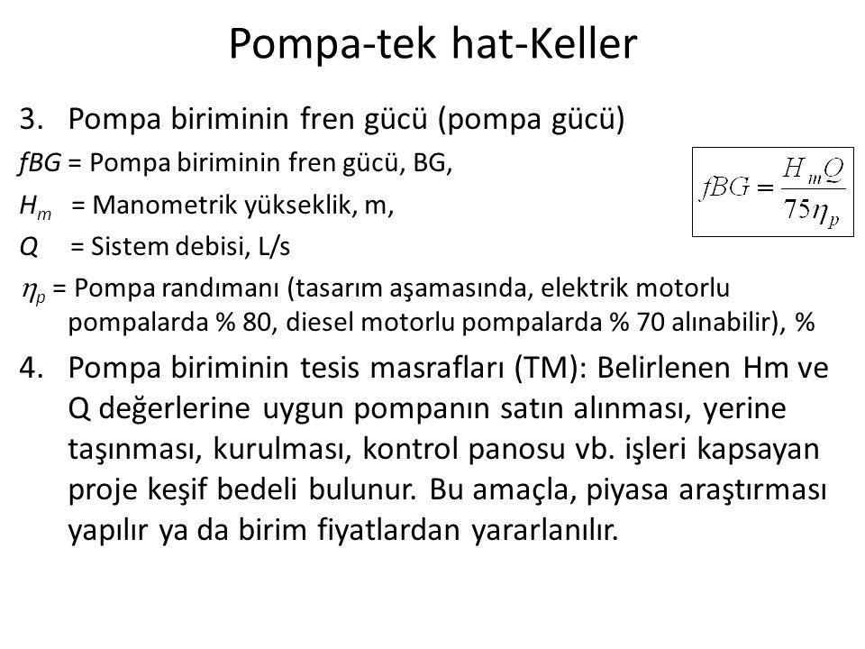 Pompa-tek hat-Keller 3.Pompa biriminin fren gücü (pompa gücü) fBG = Pompa biriminin fren gücü, BG, H m = Manometrik yükseklik, m, Q = Sistem debisi, L