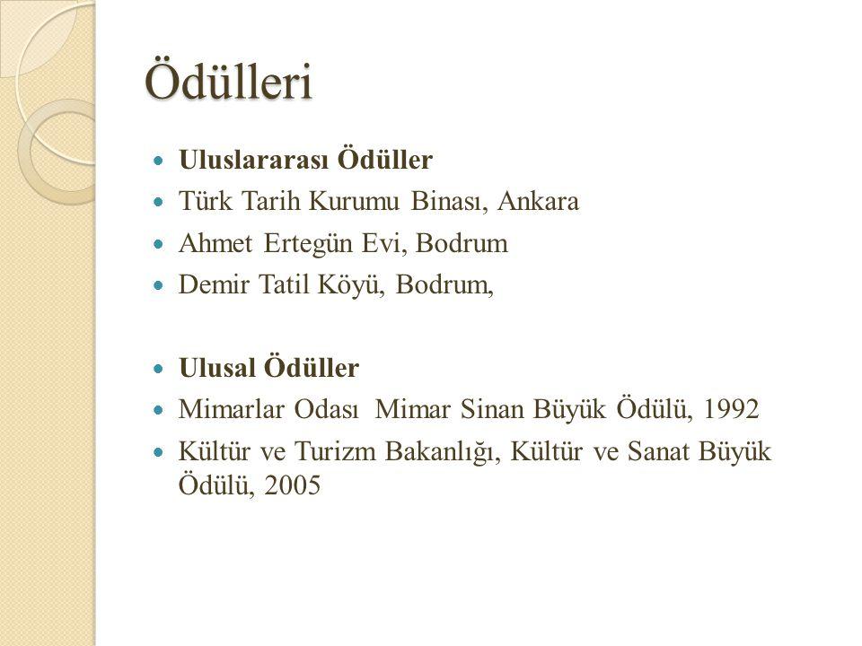 Kitapları Osmanlı ve Selçuklu Mimarisinde Sütun Başlıkları, Doktora Tezi, 1949 (Yayınlanmamıştır) Modern Mimarinin Sorunları, Doçentlik Tezi, 1960 Düşünceler ve Mimari, T.T.K.