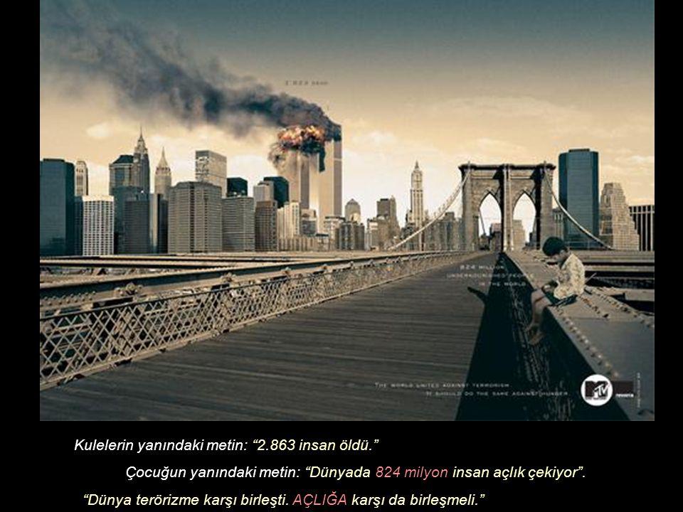 Kulelerin yanındaki metin: 2.863 insan öldü. Çocuğun yanındaki metin: Dünyada 824 milyon insan açlık çekiyor .