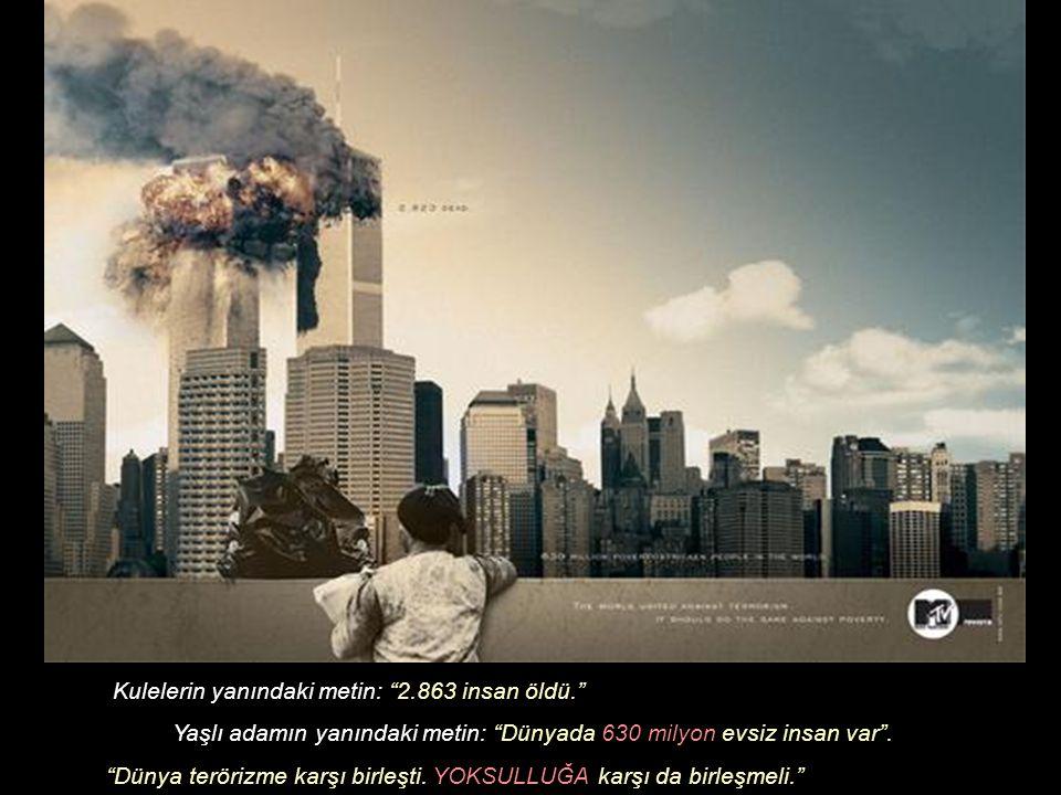 Kulelerin yanındaki metin: 2.863 insan öldü. Yaşlı adamın yanındaki metin: Dünyada 630 milyon evsiz insan var .