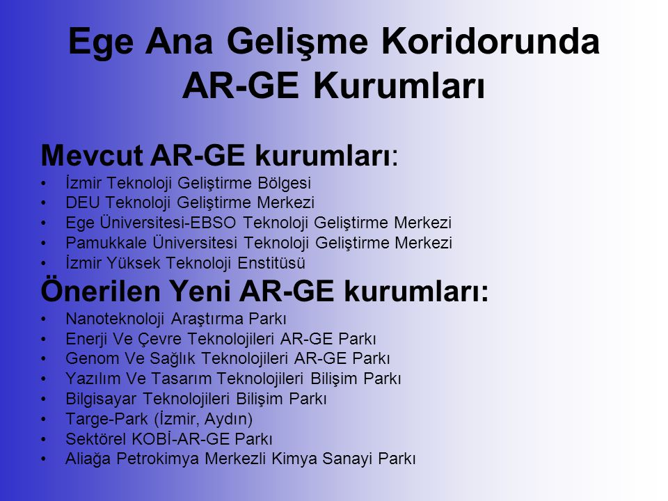 Ege Ana Gelişme Koridorunda AR-GE Kurumları Mevcut AR-GE kurumları: İzmir Teknoloji Geliştirme Bölgesi DEU Teknoloji Geliştirme Merkezi Ege Üniversite