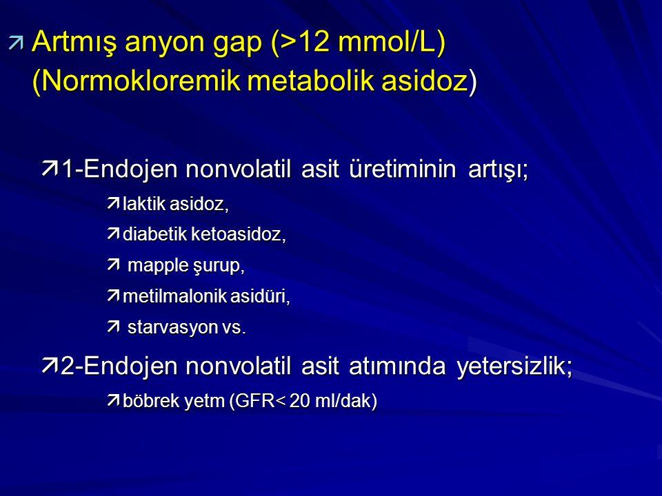 ä Artmış anyon gap (>12 mmol/L) (Normokloremik metabolik asidoz) ä1-Endojen nonvolatil asit üretiminin artışı; älaktik asidoz, ädiabetik ketoasidoz, ä