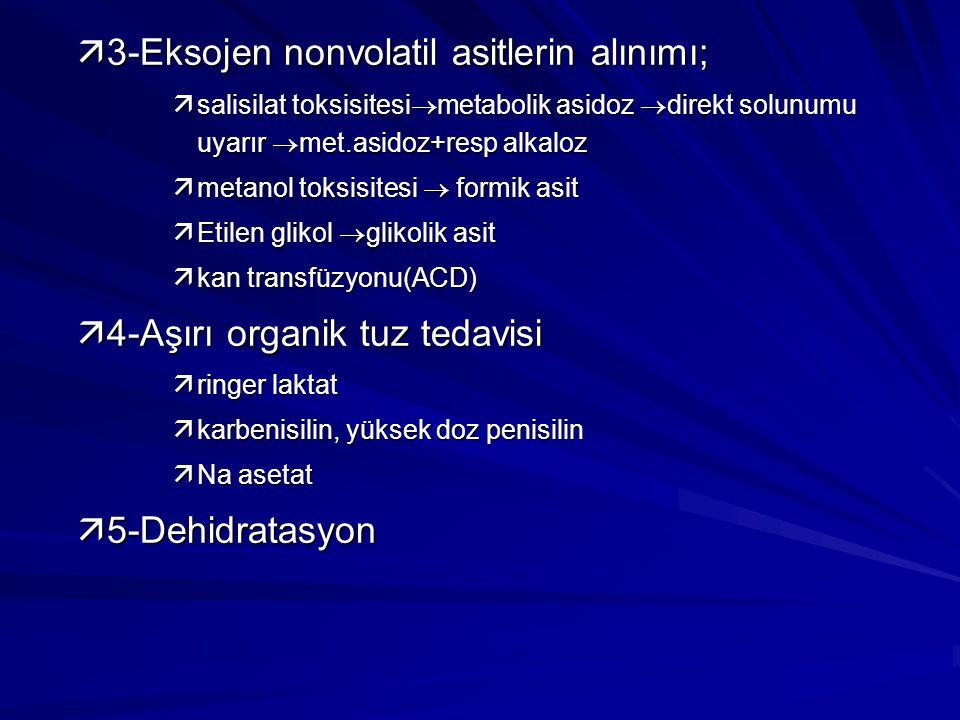 ä3-Eksojen nonvolatil asitlerin alınımı;  salisilat toksisitesi  metabolik asidoz  direkt solunumu uyarır  met.asidoz+resp alkaloz  metanol toksi