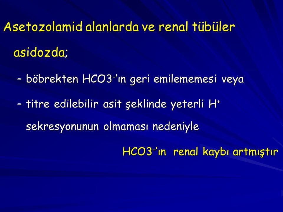 Asetozolamid alanlarda ve renal tübüler asidozda; –böbrekten HCO3 - 'ın geri emilememesi veya –titre edilebilir asit şeklinde yeterli H + sekresyonunu