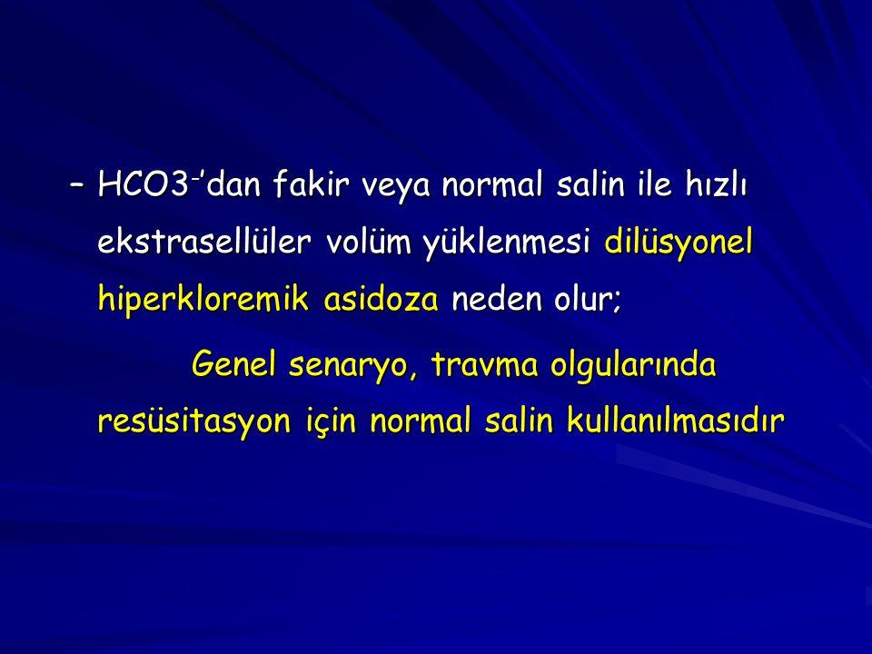 –HCO3 - 'dan fakir veya normal salin ile hızlı ekstrasellüler volüm yüklenmesi dilüsyonel hiperkloremik asidoza neden olur; Genel senaryo, travma olgu