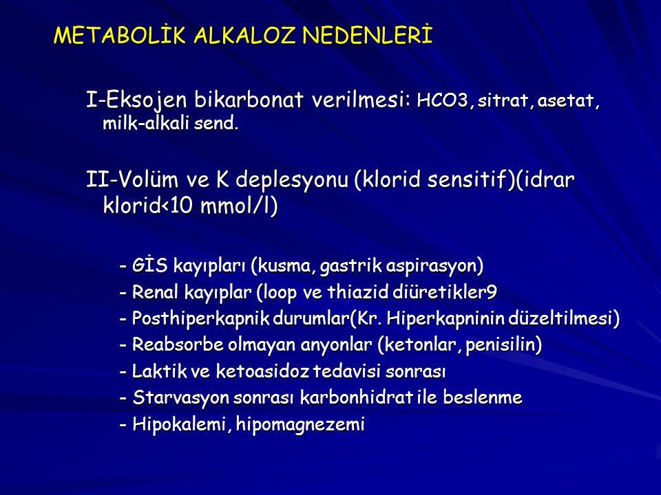 METABOLİK ALKALOZ NEDENLERİ I-Eksojen bikarbonat verilmesi: HCO3, sitrat, asetat, milk-alkali send. II-Volüm ve K deplesyonu (klorid sensitif)(idrar k