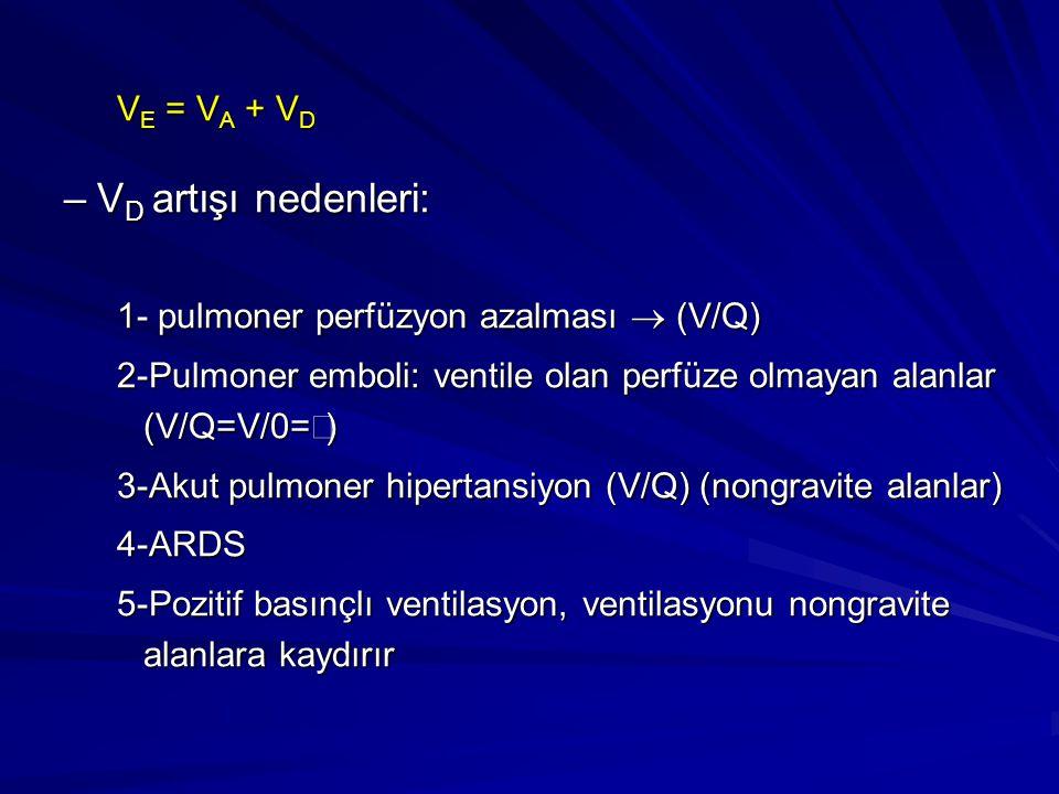 V E = V A + V D –V D artışı nedenleri: 1- pulmoner perfüzyon azalması  (V/Q)  2-Pulmoner emboli: ventile olan perfüze olmayan alanlar (V/Q=V/0=  )