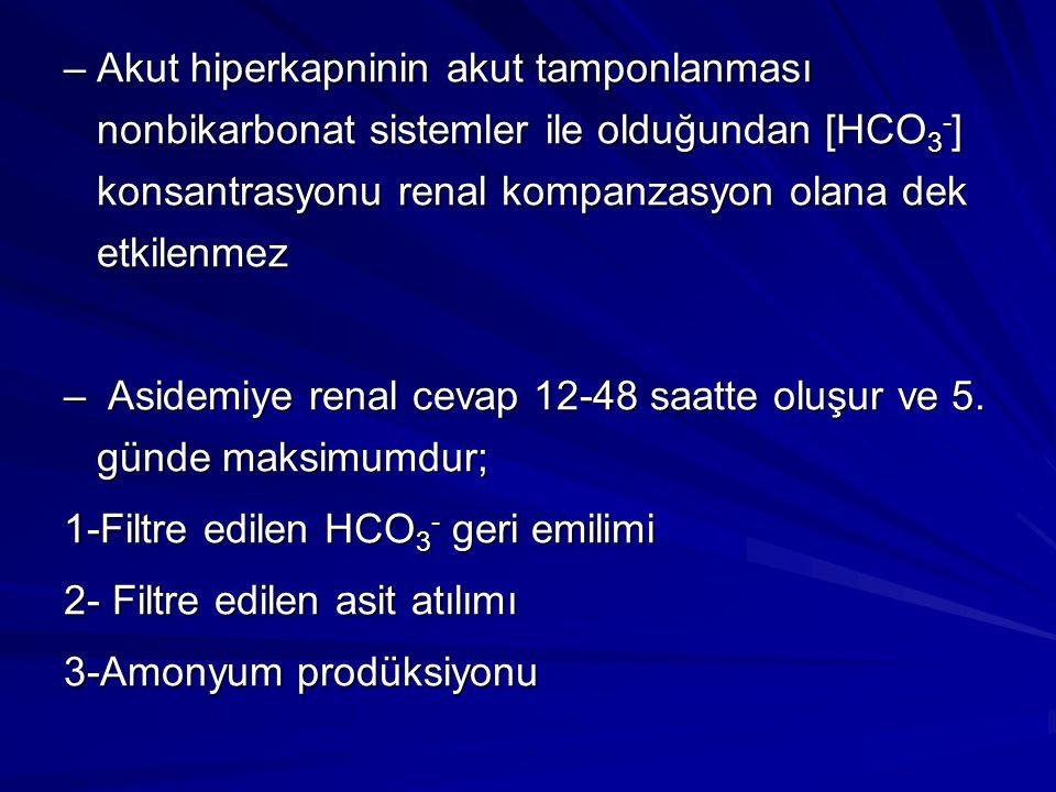–Akut hiperkapninin akut tamponlanması nonbikarbonat sistemler ile olduğundan [HCO 3 - ] konsantrasyonu renal kompanzasyon olana dek etkilenmez – Asid