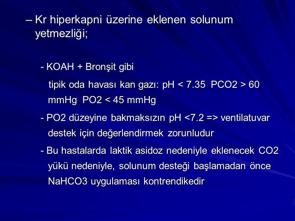 –Kr hiperkapni üzerine eklenen solunum yetmezliği; - KOAH + Bronşit gibi tipik oda havası kan gazı: pH 60 mmHg PO2 60 mmHg PO2 < 45 mmHg - PO2 düzeyin