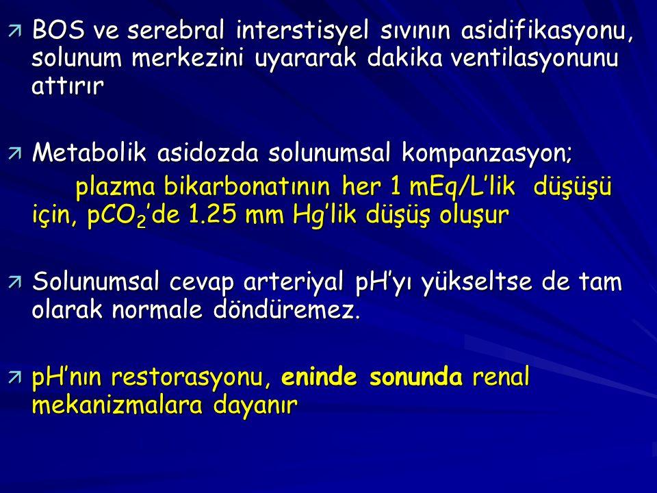 ä BOS ve serebral interstisyel sıvının asidifikasyonu, solunum merkezini uyararak dakika ventilasyonunu attırır ä Metabolik asidozda solunumsal kompan