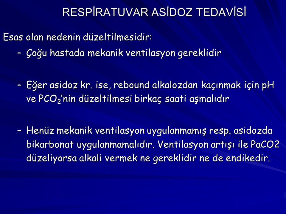 RESPİRATUVAR ASİDOZ TEDAVİSİ Esas olan nedenin düzeltilmesidir: –Çoğu hastada mekanik ventilasyon gereklidir –Eğer asidoz kr. ise, rebound alkalozdan