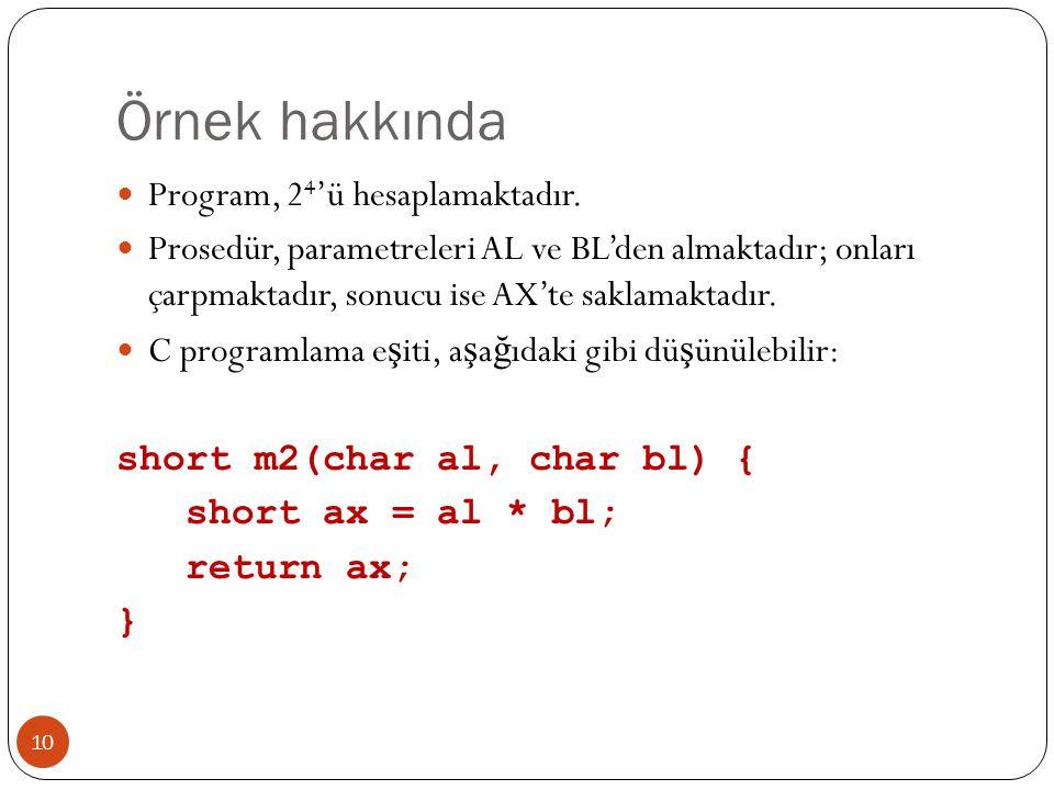 Örnek hakkında 10 Program, 2 4 'ü hesaplamaktadır. Prosedür, parametreleri AL ve BL'den almaktadır; onları çarpmaktadır, sonucu ise AX'te saklamaktadı