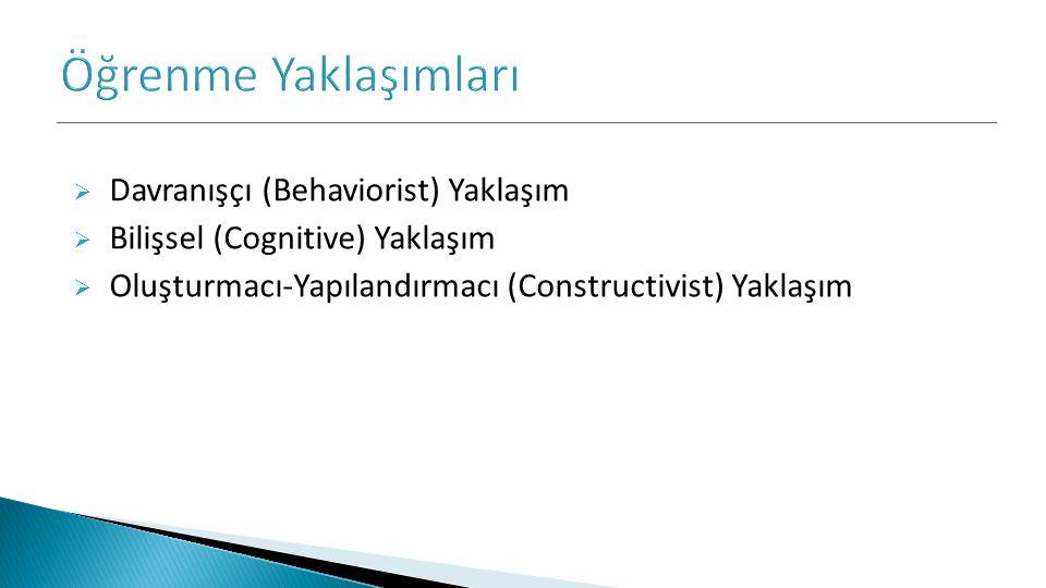  Davranışçı (Behaviorist) Yaklaşım  Bilişsel (Cognitive) Yaklaşım  Oluşturmacı-Yapılandırmacı (Constructivist) Yaklaşım