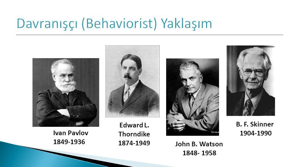 John B. Watson 1848- 1958 Ivan Pavlov 1849-1936 B. F. Skinner 1904-1990 Edward L. Thorndike 1874-1949