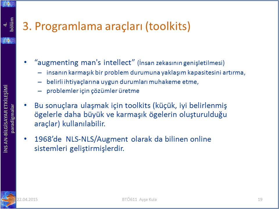 """3. Programlama araçları (toolkits) """"augmenting man's intellect"""" (İnsan zekasının genişletilmesi) – insanın karmaşık bir problem durumuna yaklaşım kapa"""