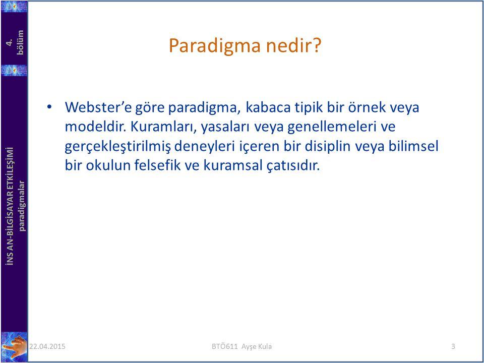 Webster'e göre paradigma, kabaca tipik bir örnek veya modeldir. Kuramları, yasaları veya genellemeleri ve gerçekleştirilmiş deneyleri içeren bir disip