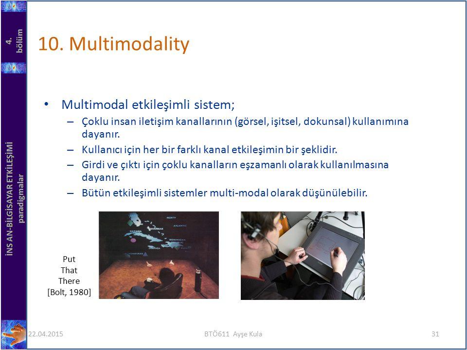 10. Multimodality Multimodal etkileşimli sistem; – Çoklu insan iletişim kanallarının (görsel, işitsel, dokunsal) kullanımına dayanır. – Kullanıcı için